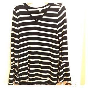 Tops - Striped Bell cuff sweater